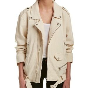 Moon River Cream Linen Blend Moto Jacket